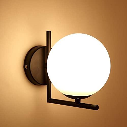 Coding Lámpara de pared Nordic de metal, apliques de pared creativos de cristal esférico, estilo modernista, lámpara de pared para habitación de los niños, pasillo, luz blanca cálida (negro)