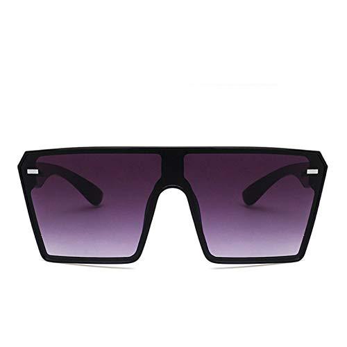 NJJX Gafas De Sol Cuadradas De Gran Tamaño A La Moda Gafas De Sol Con Montura Grande Gradiente Retro ParaMujer Espejo De Sombra De Una Pieza Lente Transparente Negrogris
