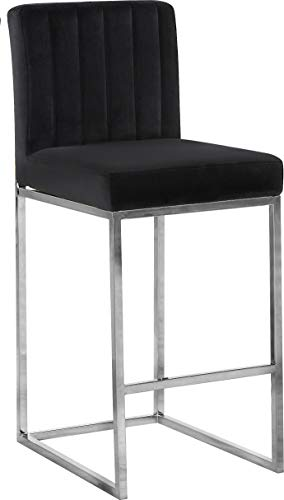 Meridian Furniture 782Black-C Giselle Collection Modern | Contemporary Velvet Upholstered, Channel Tufted Counter Stool with Polished Chrome Metal Base, 16' W x 19' D x 37.5' H, Black
