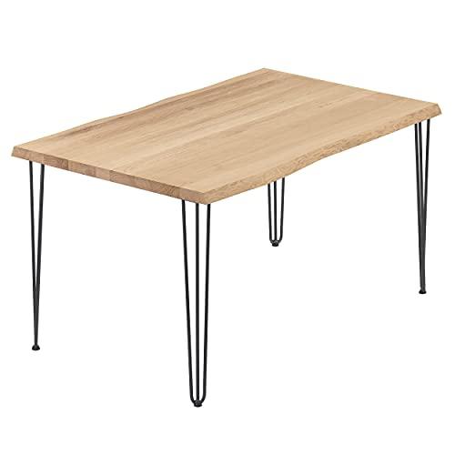 LAMO Manufaktur Schreibtisch Esstisch Massivholz Küchentisch 120x80x76 cm, Creative, Natur/Rohstahl mit Klarlack, LEG-01-A-002-0000Cr