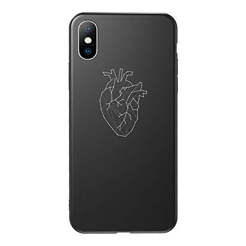 Funda para teléfono con Letras para iPhone X XS XR 11 Pro MAX Couple Love Heart Cover Fundas de Silicona TPU Suave para iPhone 8 7 6 6s Plus, AC7728, para iPhone XR