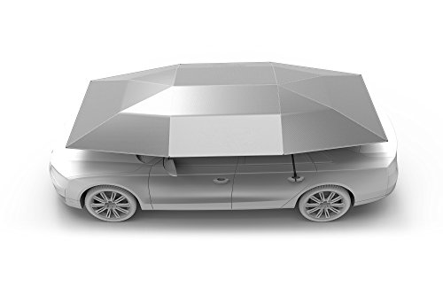 Artpixel Universal Car Tent Movable Carport Folded Portable Automobile Protection Car Umbrella Sunproof Car Canopy Cover- Silver