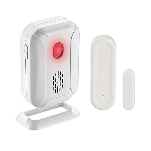 GREENCYCLE Wireless Door Open Chime (Operating Range - 918FT   36 Chime Tunes   4 Volume Levels   LED Flashing Light) - 1 Magnetic Door Alarm Sensor, 1 Receiver Battery Operated