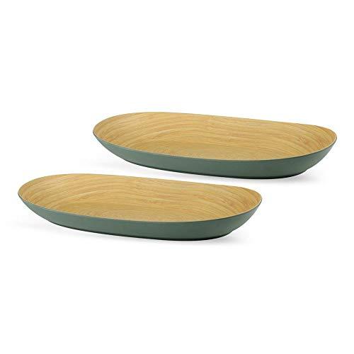 BIOZOYG Bio Obstschalen Set 2 Stück Bambusoptik Petrol I Servierschale Bambus Schale Oval 21 x 34 cm I Umweltfreundliches Bambus-Geschirr Teller-Set Dekoteller Bambus Snackschale Snackteller