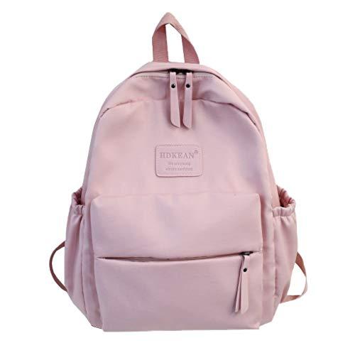 Rucksack Mädchen Damen, VECOLE Backpack Schulrucksack Teenager Große Kapazität Einfarbiges Wasserdichtes Nylon Reiserucksack(Rosa)
