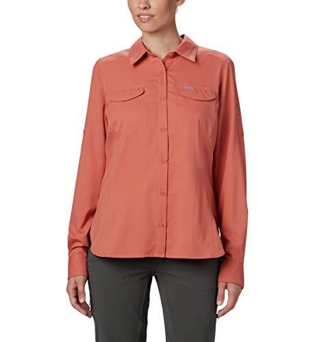 Columbia Silver Ridge Lite Damen Langarmshirt, Damen, Silver Ridge Lite Plaid Long Sleeve Wicking Shirt, Dark Coral, 3X