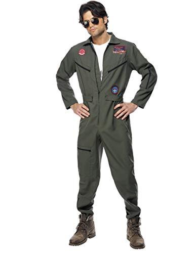 KULTFAKTOR GmbH Top Gun-Kostüm für Herren Jetpilot Kostüm Karneval Khaki L