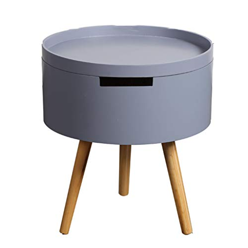 Table Basse Canapé Table D'appoint Ronde Table Basse Stable Antidérapante Stockage Salon Canapé Table D'appoint Simple Table Basse (Color : Gray, Size : 43 * 38 * 38cm)