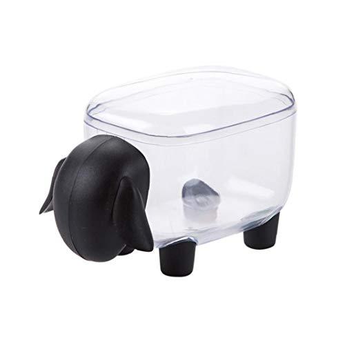 Esponja de algodón sostenedor creativo ovejas sahped Pequeño Q-tips Palillos del organizador del almacenaje a prueba de polvo de escritorio caja de almacenamiento (Negro)