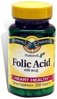 Spring Valley - Folic Acid 400 Mcg, 250 Tablets (2 Pack)
