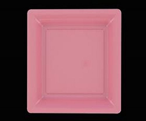 12 ASSIETTES CARRES EN PLASTIQUE ROSE PASTEL 23 X 23 CM