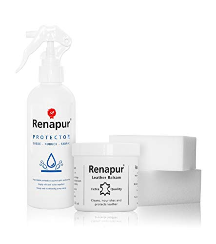 Renapur Leather and Suede Protector Kit - Protect and Help Waterproof Leather, Suede, Nubuck, Fabric, Cotton, Shoes, Trainers, Boots and More