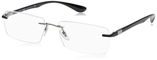 Ray-Ban Men's RX8724 Titanium Rectangular Prescription Eyeglass Frames, Gunmetal/Demo Lens, 56 mm
