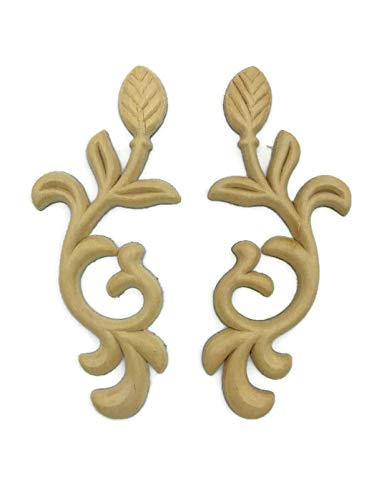 UNIQANTIQ HARDWARE SUPPLY Leaves Birch Wood Applique Pair - 4 3/4' x 2' - Onlay Antique & Modern Furniture Doors, Walls Carved Ornamental Decor. | G10-B49