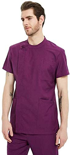 Miaoao-HL Verpleging Top, Uniforms Medische Uniformen Heren Gebogen Pocket Glamour Scrub Top Ziekenhuis Werkkleding