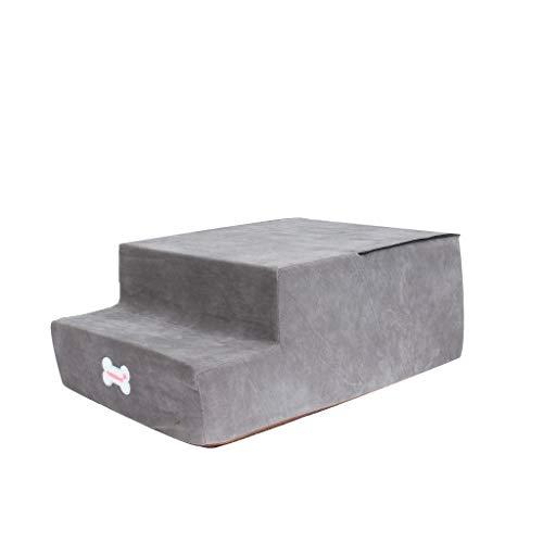 Yowablo High-Density-Schwamm-Haustiertreppe rutschfeste Unterseite Haustierbett Katze Hunderampe 2 Stufen (Falte Größe:20 * 52 * 38cm,5- Grau)
