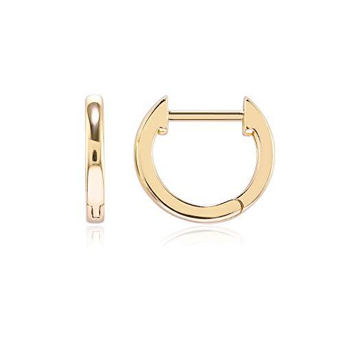 ZBOMR Pendientes De Aro Pequeños Chapados En Oro Pendientes De Aro Brillante Huggie Para Mujeres Y Hombres Pendientes De Aro Pequeños HipoalergÉNicos Para Dormir (Gold)