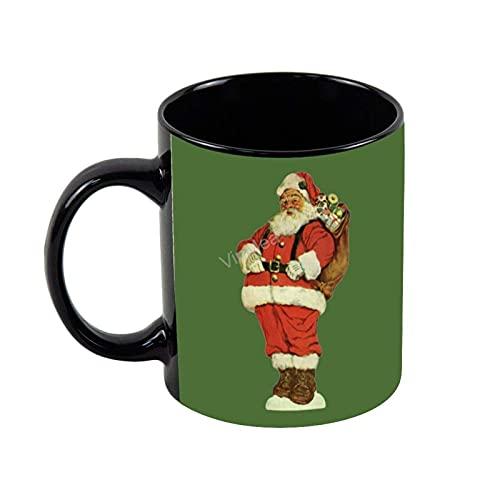 N\A Taza de café de cerámica Papá Noel con Juguetes Novedad Taza de té de café Vacaciones Regalos de cumpleaños, 11 oz