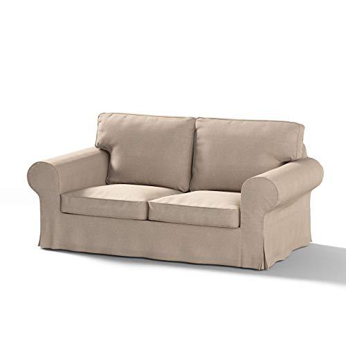 Dekoria Rivestimento per divano Ektorp a 2 posti non apribile Rivestimento per divano, copridivano, fodere, adatto al modello Ikea Ektorp, beige-bianco