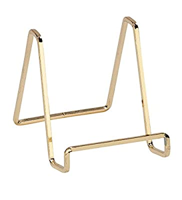 """Tripar 4"""" Metal Brass Plated Square Wire Stand/Platter Stand/Easel Display"""