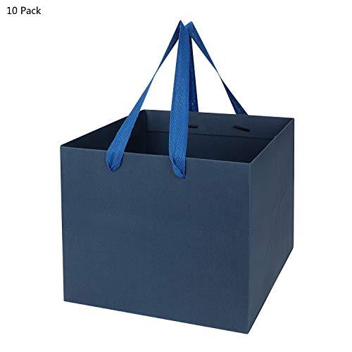 Geschenktüte Kraftpapier Gastgeschenke Mitgebsel Papiertüten 10 Stück Papiertaschen Geburtstags Kuchen Tragetaschen Pizza Papiertragetaschen mit Henkel Viereckig Tüten Papierbeutel