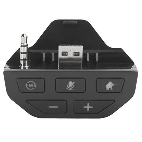 Adaptador de audio para auriculares, Adaptador de audio Auriculares estéreo Convertidor de auriculares Control de voz retardado, Plug and Play, Adecuado para Xbox One Gamepad inalámbrico(negro)