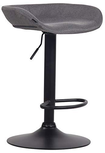 CLP Taburete Anaheim Tapizado En Tela & Base De Metal I Silla Alta De Bar Regulable En Altura & Giratoria, Color:Gris Oscuro, Color del Marco:Negro
