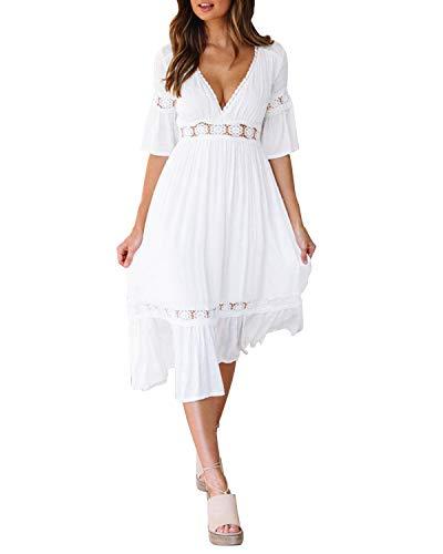 Style Dome Damen Schulterkleid Langarm Boho Kleid Blumenmuster Strandkleid Sommerkleider Lang Maxikleid 5 Weiß L