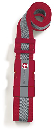 SwissGear Adjustable Luggage Strap with Snap-Lock Buckle - Fits Bags up to 72-Inches, One Size, Red
