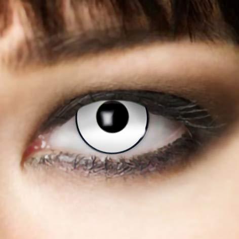 3-Monatslinsen WHITE MANSON, weiße Zombie Kontaktlinsen, Crazy Funlinsen, Halloween, Fastnacht, weiß …