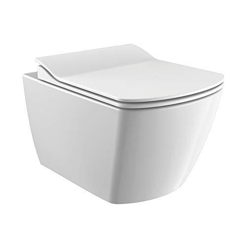 KERABAD Design Keramik Wand Hänge WC Toilette Randlos inkl. WC Sitz aus Duroplast mit Absenkautomatik Spülrandlos KB-CDZ_6ZPW