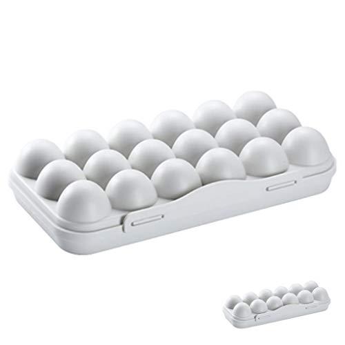 Caja De Almacenamiento De Huevos De 18 Rejillas, Soporte De Plástico Para Huevos, Cajas De Huevos Apilables Portátiles Con Tapa, Protegen Y Mantienen Los Huevos Frescos, Para Refrigerador, Exterior
