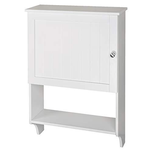 WOLTU Armario de Pared Muebles de Baño Estantes para Almacenamiento con Puertas 50x73x19cm, MDF Blanco BZS20ws