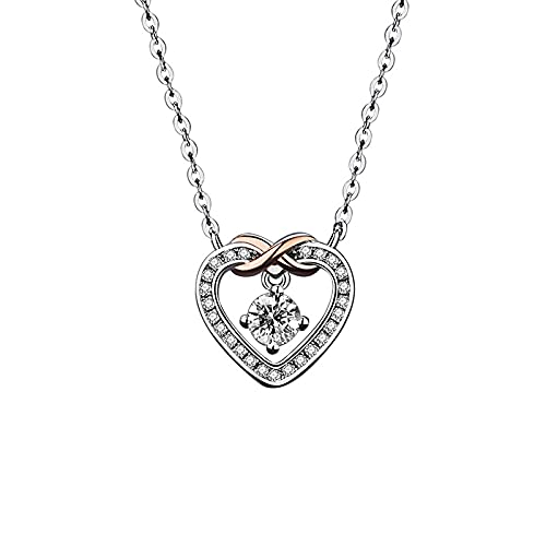 LYUNTING Collar con colgante de amor, plata S925, cadena de clavícula, diseño de viento frío