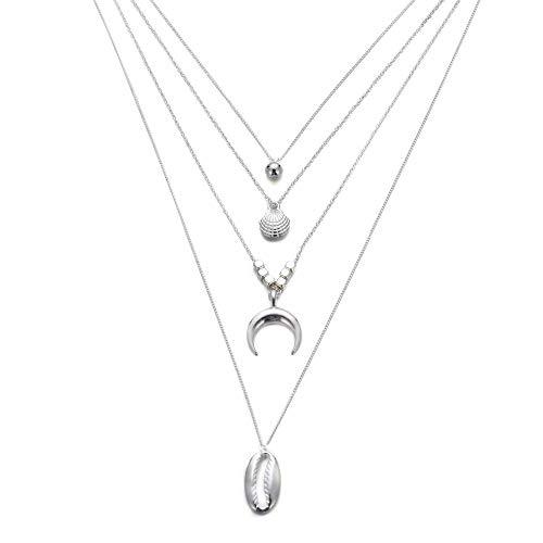 Strass & Paillettes Collar multicapa cadena a ras del cuello plateado, collar de concha plateada, collar largo con forma de concha de plata, collar largo con carcasa de plata. 4 collares en uno.