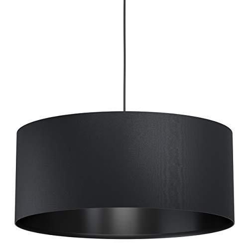 EGLO Pendelleuchte Maserlo 1, 1 flammige Hängelampe Vintage, Modern, Hängeleuchte aus Stahl und Textil in Schwarz, Esstischlampe, Wohnzimmerlampe hängend mit E27 Fassung, Ø 53 cm