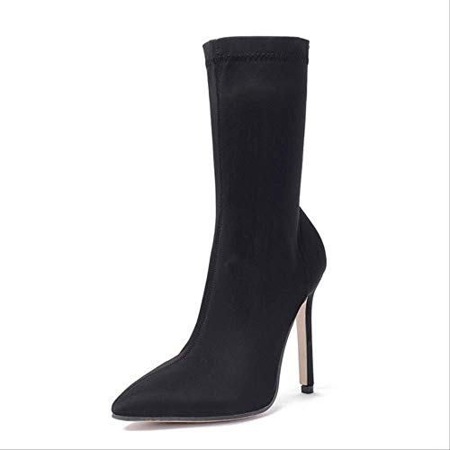 SHZSMHD Lente Slim Stretch Enkel Laarzen voor Vrouwen Aangewezen teen Sok Laarzen Vierkant Hoge hak Laarzen Schoenen Vrouw Mode
