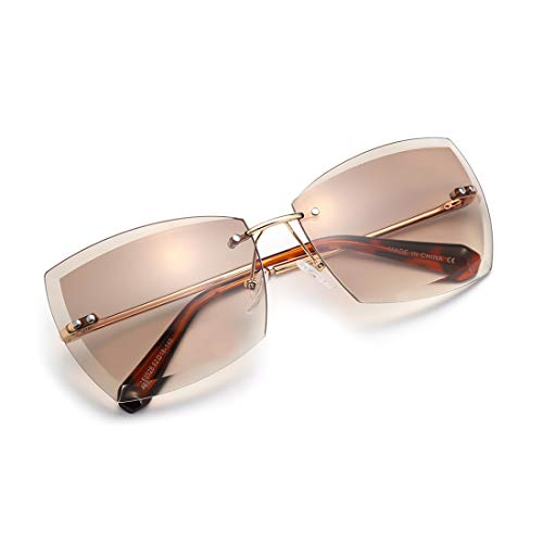 AEVOGUE Sunglasses For Women Oversized Rimless Metal Frame AE0528 (Gold Frame/Brown Lens)