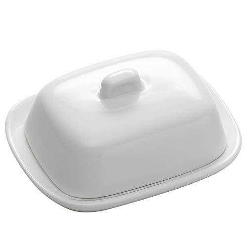 Maxwell & Williams White Basics Mantequera con Tapa, Porcelana, Butter Dish
