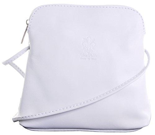 Primo Sacchi Damen Italienisches weiches Leder handgemacht klein Mikro Mini Umhängetasche Handtasche weiße