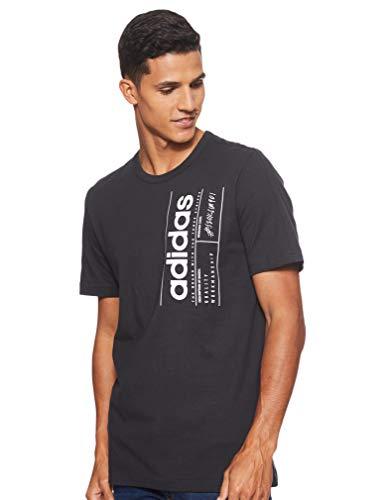 adidas M BB T Camiseta de Manga Corta, Hombre, Black/White