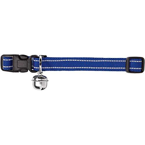 HUNTER FLASHLIGHT Katzenhalsband, Nylon, elastisch, reflektierend, Glöckchen, blau