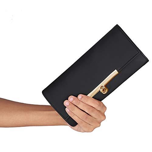 ALSU Women's Black Fancy leather Clutch Wallet Purse with 7 Pockets and 4 card slots LDU-012