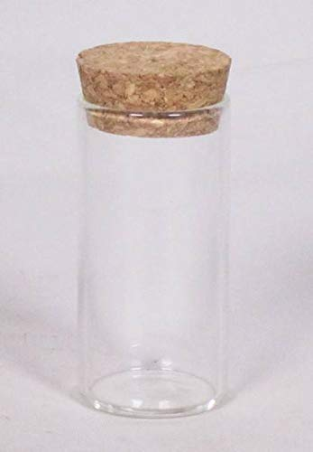 INNA-Glas Frasco con tapón de Corcho Simon, cilíndricas/Redondas, Transparentes, 7cm, Ø3,5cm - Tubo de ensayo de Cristal - Bote
