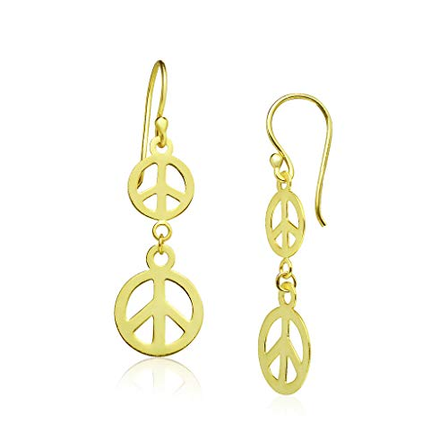 Big Apple Hoops - Lightweight Double Peace Sign Drop Dangle Earrings Made from Real Solid 925 Sterling Silver in 3 Color Rose, Silver or Gold with Protective Electrocoated Finish for Anti-Tarnish
