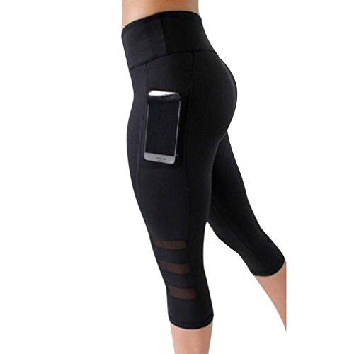 Squarex Damen Skinny Leggings Patchwork Mesh Yoga Leggings Fitness Sport Caprihose, Damen, Schwarz , m