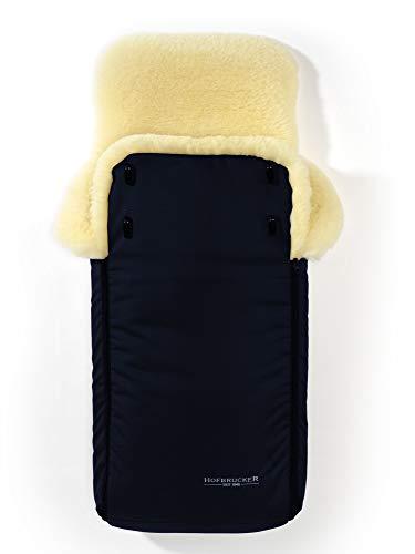Hofbrucker Lammfell-Fußsack Luxus für Tragetasche, Kinderwagen, Buggy/Universell für alle Fabrikate/wind- & wasserabweisend/Mumienform möglich/medizinisches Lammfell/Made in Germany, Design:navy blue