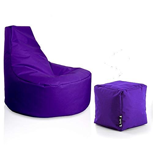 Patchhome Gamer Sessel inkl. Würfel Bean Bag Set Ø80cm, 30cm Sitzhöhe, 90cm Höhe + 35x35cm Würfel Lila