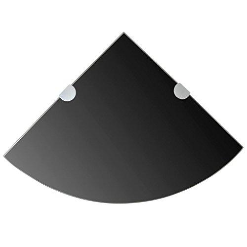 ROMELAREU hoekplank met verchroomde houders glas zwart 25 x 25 cm meubels rekken wandplanken & size