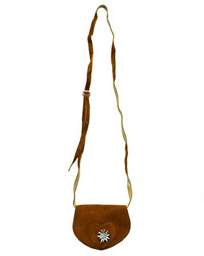 Kleine Trachtentasche Dirndltasche Umhängetasche mit Edelweiss Leder braun